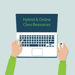 Hybrid and online class graphic